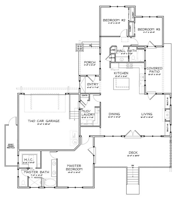 Home Plan - Craftsman Floor Plan - Main Floor Plan #895-81