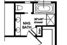 Colonial Interior - Master Bathroom Plan #1010-163