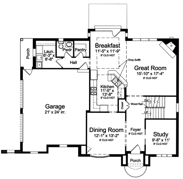 Tudor Floor Plan - Main Floor Plan Plan #46-853
