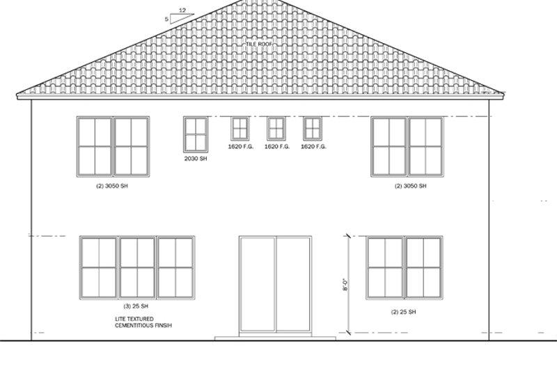 Mediterranean Exterior - Rear Elevation Plan #1058-63 - Houseplans.com