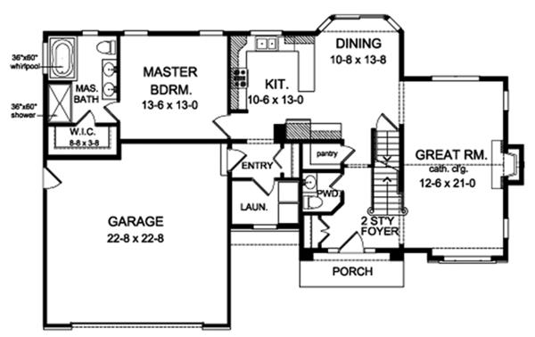 Architectural House Design - Traditional Floor Plan - Main Floor Plan #1010-140