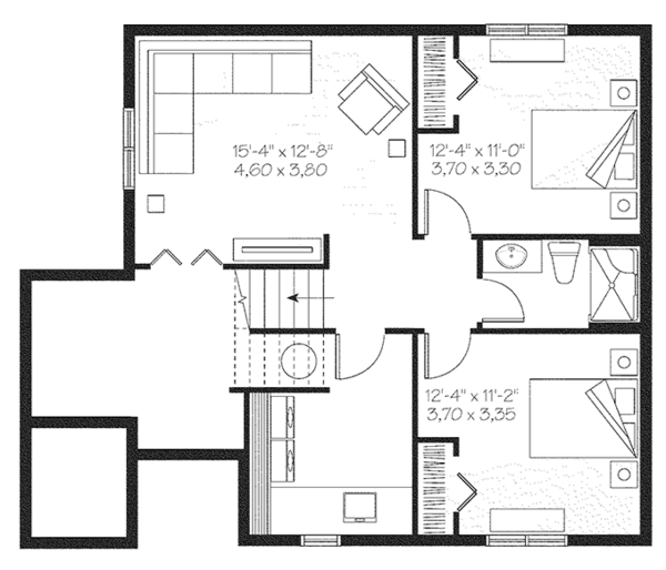 Traditional Floor Plan - Lower Floor Plan Plan #23-2492
