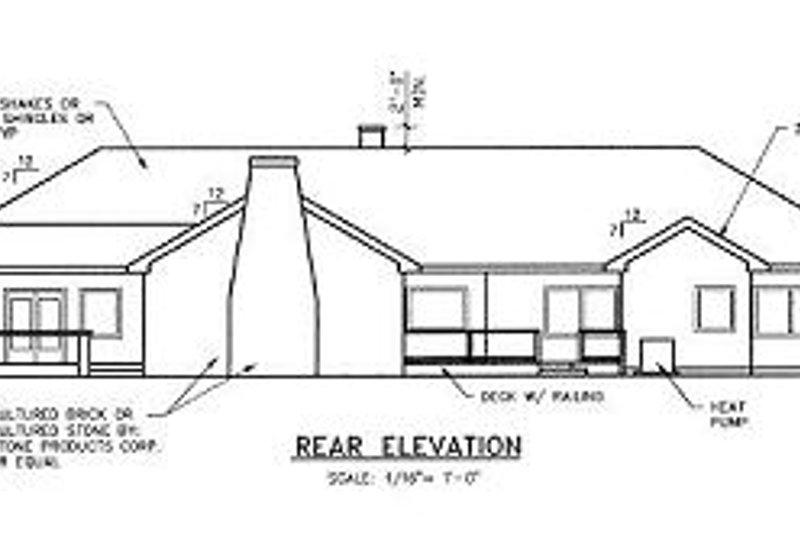Ranch Exterior - Rear Elevation Plan #60-452 - Houseplans.com
