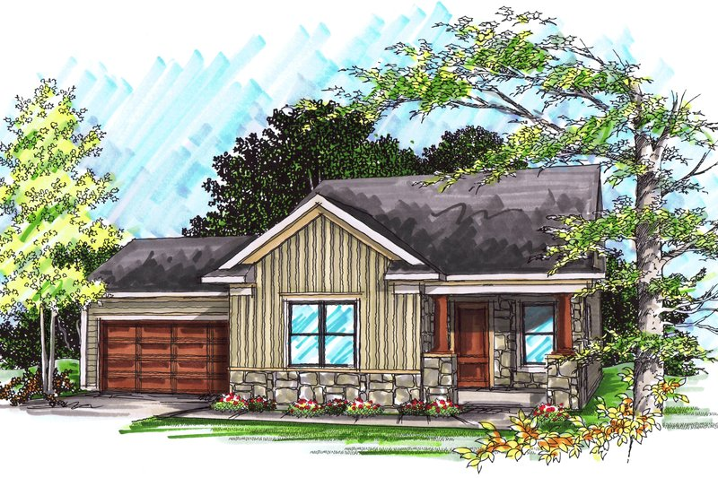 Ranch Exterior - Front Elevation Plan #70-1018 - Houseplans.com