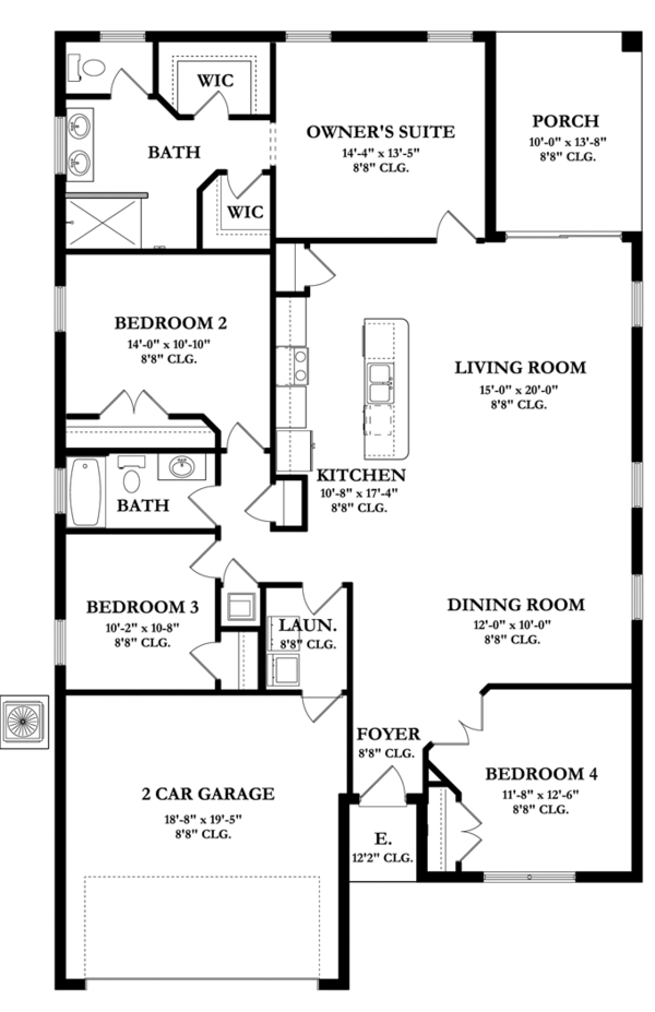 Mediterranean Floor Plan - Main Floor Plan Plan #1058-55