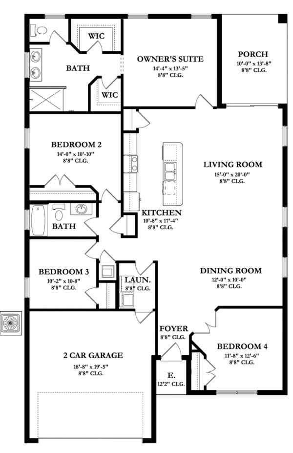 Mediterranean Floor Plan - Main Floor Plan Plan #1058-55