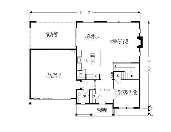 Craftsman Floor Plan - Main Floor Plan Plan #53-610