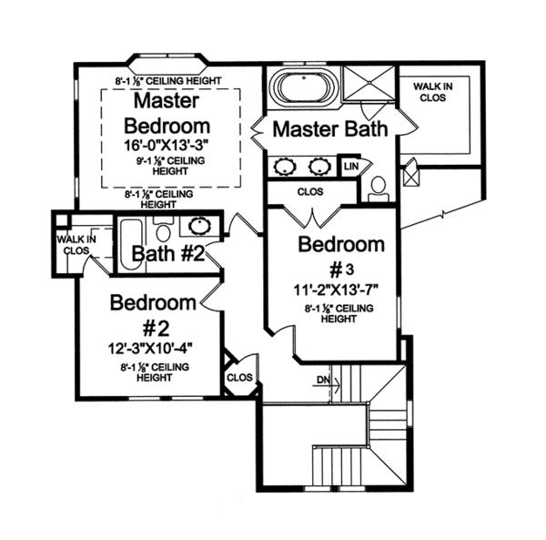 Traditional Floor Plan - Upper Floor Plan Plan #46-846