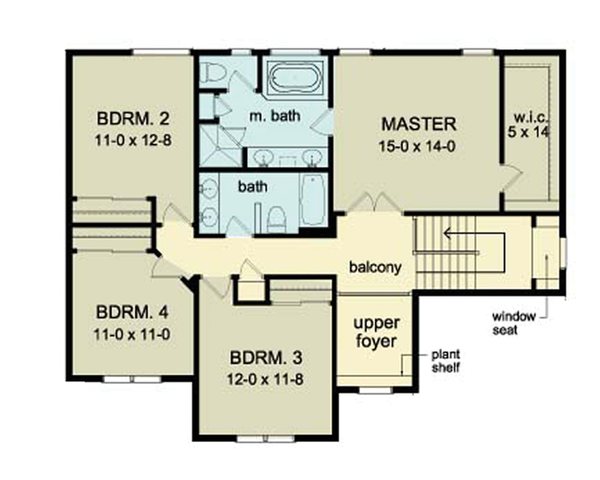 Colonial Floor Plan - Upper Floor Plan Plan #1010-39