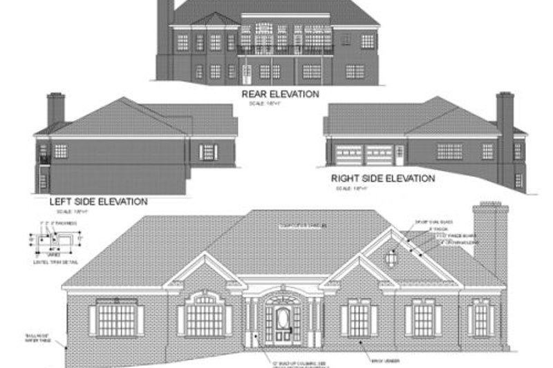 Southern Exterior - Rear Elevation Plan #56-198 - Houseplans.com