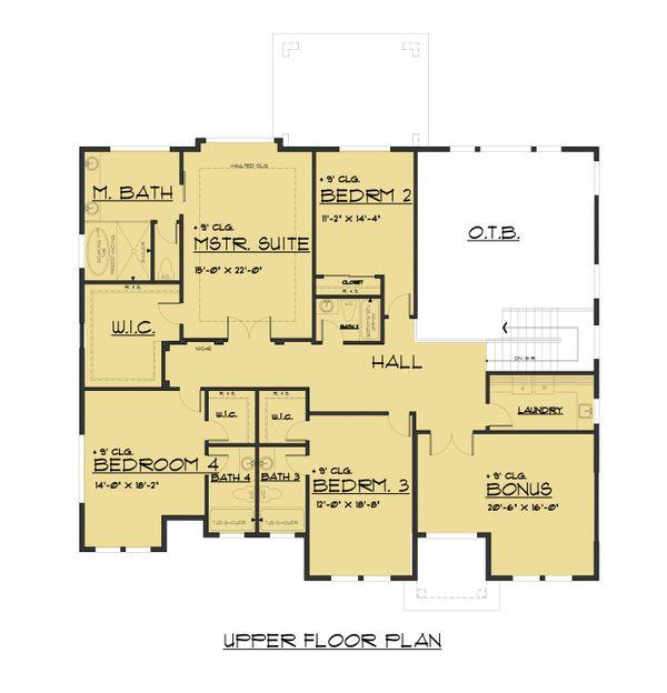 Craftsman Floor Plan - Upper Floor Plan Plan #1066-48