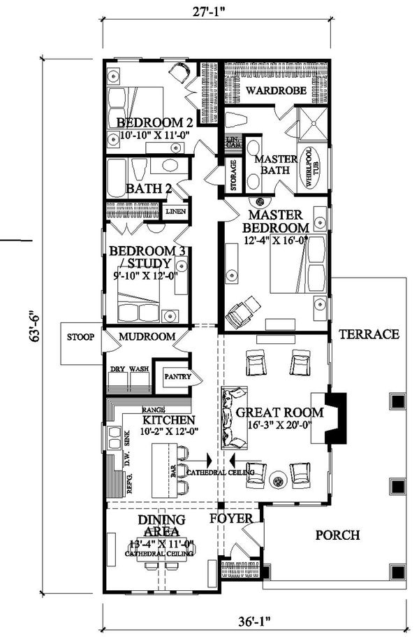 Craftsman Floor Plan - Main Floor Plan Plan #137-267