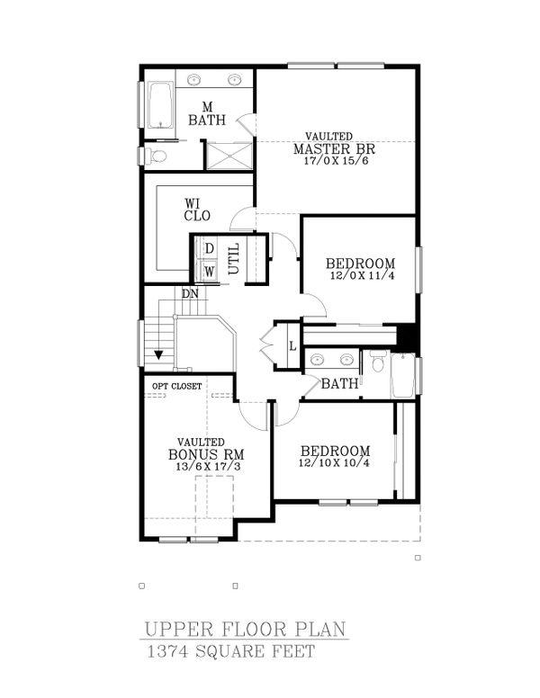 Craftsman Floor Plan - Upper Floor Plan #53-521