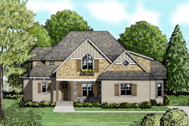 Craftsman Style House Plan - 4 Beds 3.5 Baths 3233 Sq/Ft Plan #413-847 Exterior - Front Elevation