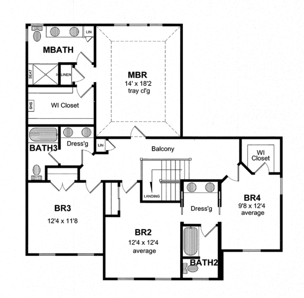 House Plan Design - Colonial Floor Plan - Upper Floor Plan #316-279