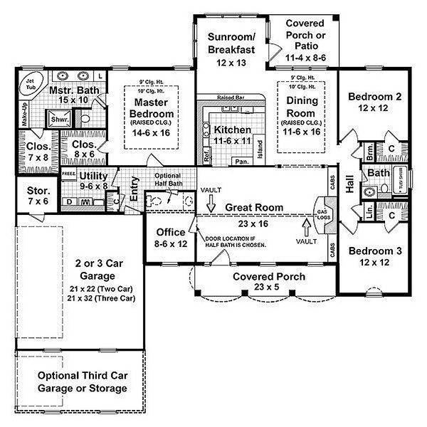Southern Floor Plan - Main Floor Plan Plan #21-131