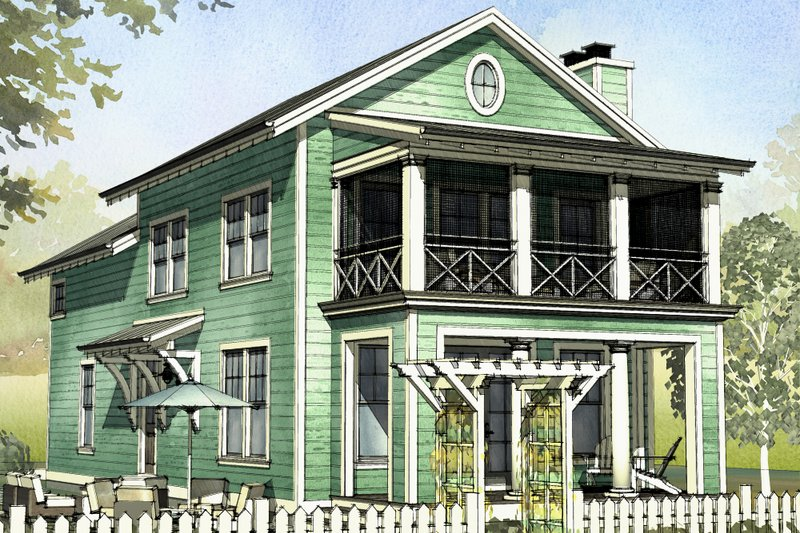 Beach Style House Plan - 3 Beds 2.5 Baths 1929 Sq/Ft Plan #901-126 Exterior - Front Elevation