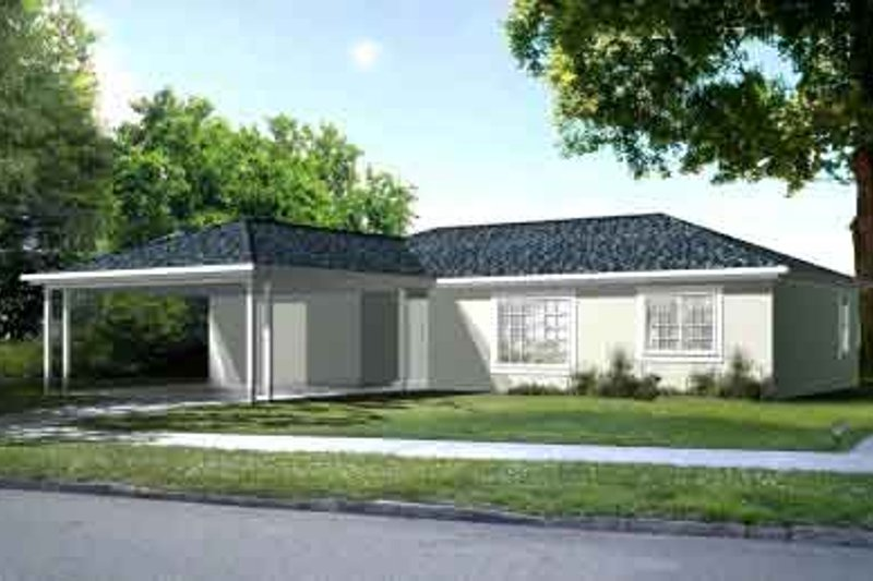 Traditional Style House Plan - 3 Beds 2 Baths 1241 Sq/Ft Plan #1-1067 Exterior - Front Elevation