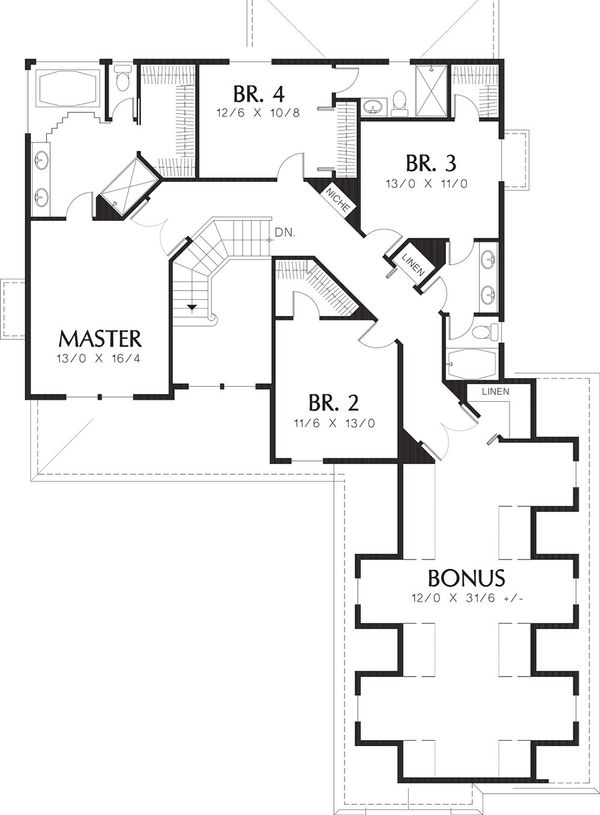 Country Floor Plan - Upper Floor Plan Plan #48-331