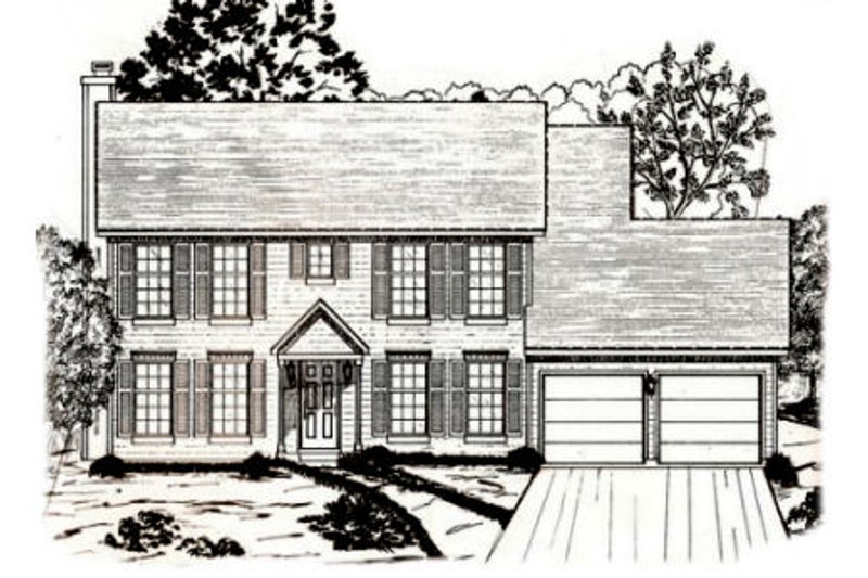 Colonial Style House Plan - 4 Beds 2.5 Baths 2174 Sq/Ft Plan #405-175 Exterior - Front Elevation