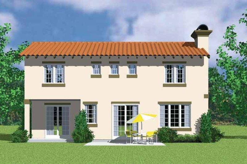 House Blueprint - Adobe / Southwestern Exterior - Rear Elevation Plan #72-1133