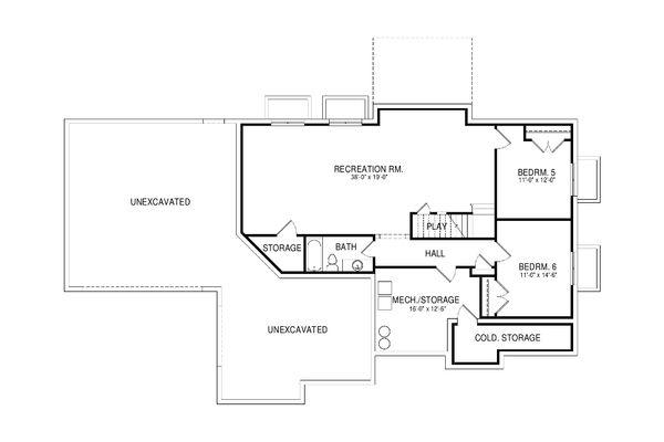 House Plan Design - Traditional Floor Plan - Lower Floor Plan #920-76