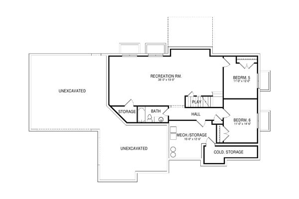 Traditional Floor Plan - Lower Floor Plan Plan #920-76