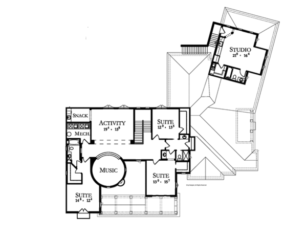 Mediterranean Floor Plan - Upper Floor Plan Plan #1058-1