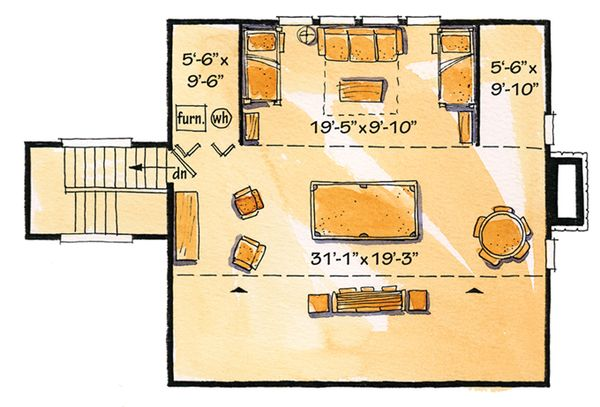 Architectural House Design - Cabin Floor Plan - Upper Floor Plan #942-22