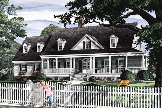 Country Exterior - Front Elevation Plan #137-366