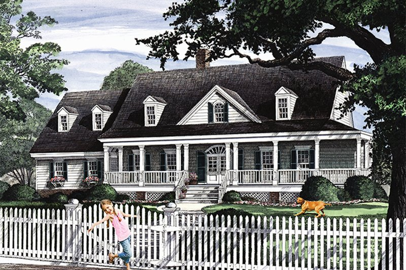 Architectural House Design - Country Exterior - Front Elevation Plan #137-366