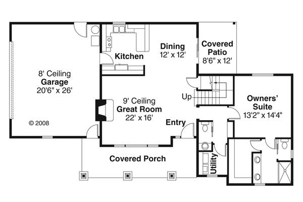 Craftsman Floor Plan - Main Floor Plan Plan #124-772