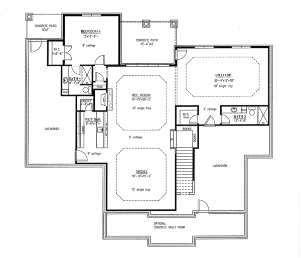 Country Floor Plan - Lower Floor Plan Plan #437-72