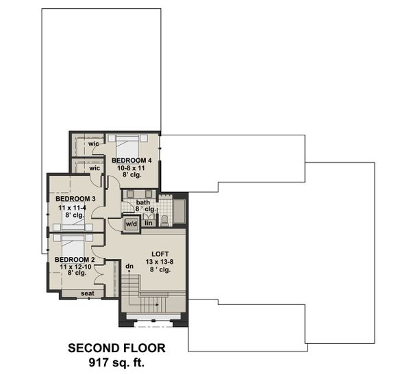 Farmhouse Floor Plan - Upper Floor Plan Plan #51-1136