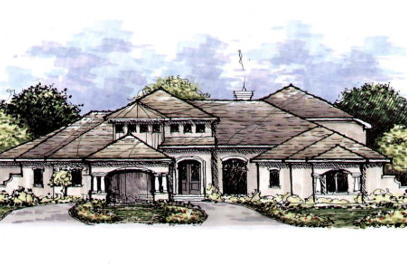 Mediterranean Style House Plan - 4 Beds 3.5 Baths 4599 Sq/Ft Plan #141-321 Exterior - Front Elevation