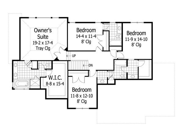 Traditional Floor Plan - Upper Floor Plan #51-470