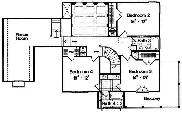 European Floor Plan - Upper Floor Plan Plan #417-393