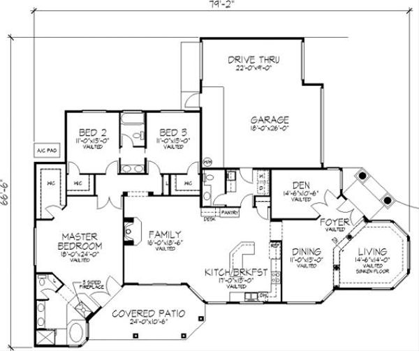 Mediterranean Floor Plan - Main Floor Plan Plan #320-148