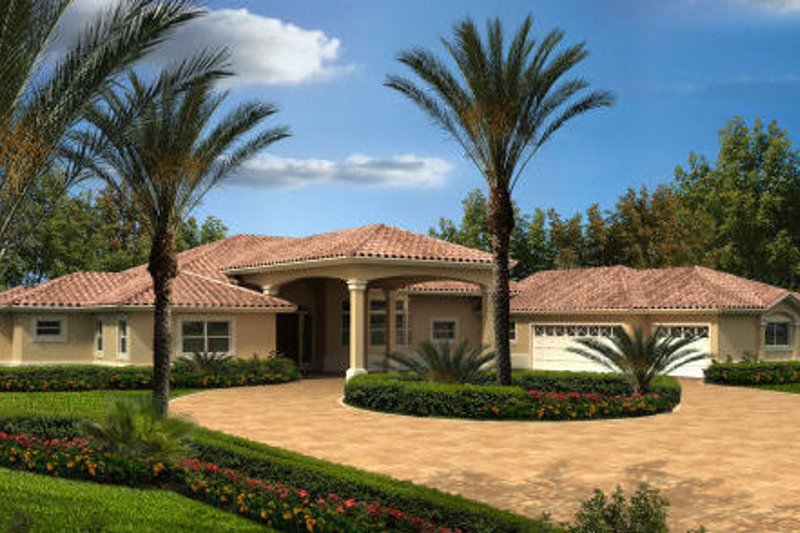 Mediterranean Style House Plan - 4 Beds 3 Baths 3568 Sq/Ft Plan #420-218 Exterior - Front Elevation