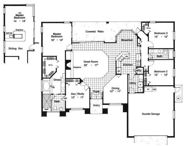 Mediterranean Floor Plan - Main Floor Plan Plan #417-197