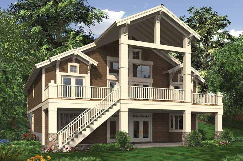 Craftsman Exterior - Rear Elevation Plan #132-551 - Houseplans.com