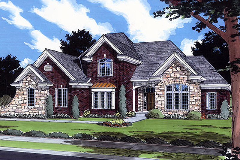 European Style House Plan - 5 Beds 3.5 Baths 3168 Sq/Ft Plan #46-349 Exterior - Front Elevation