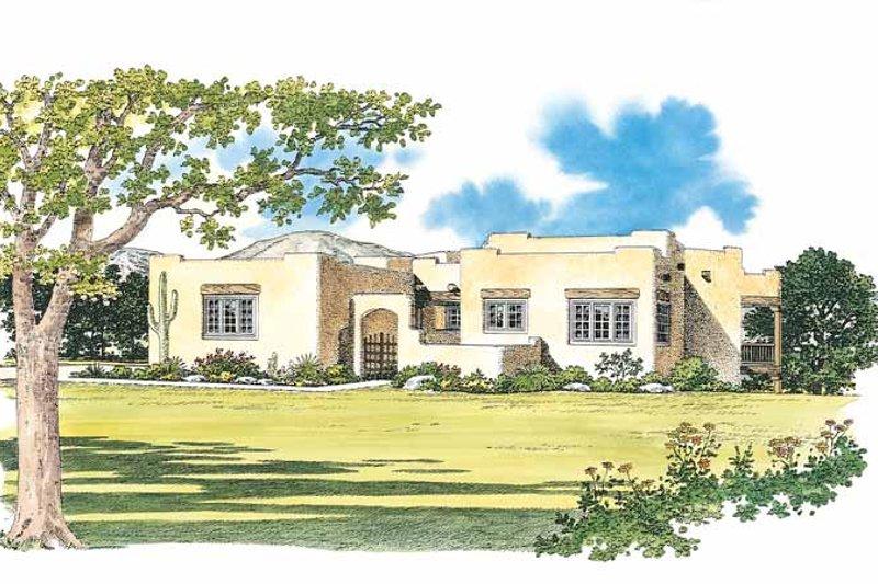 House Blueprint - Adobe / Southwestern Exterior - Front Elevation Plan #72-1049