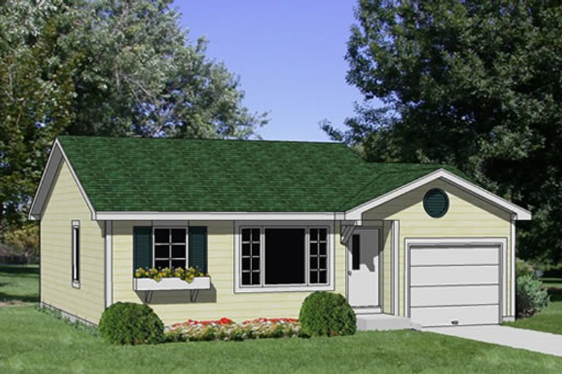 Cottage Style House Plan - 2 Beds 1 Baths 810 Sq/Ft Plan #116-208 Exterior - Front Elevation