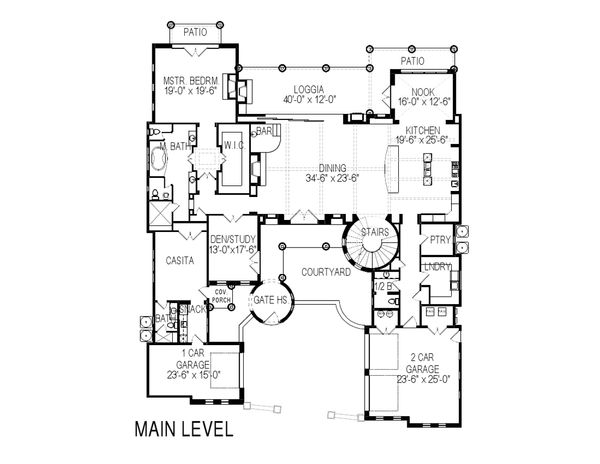 Mediterranean Floor Plan - Main Floor Plan Plan #920-66