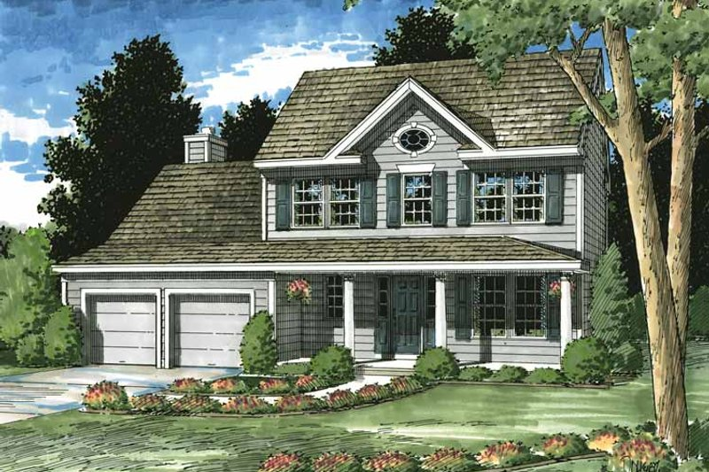Architectural House Design - Colonial Exterior - Front Elevation Plan #1029-54