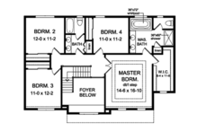 Colonial Floor Plan - Upper Floor Plan Plan #1010-163