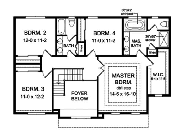 Colonial Floor Plan - Upper Floor Plan Plan #1010-163