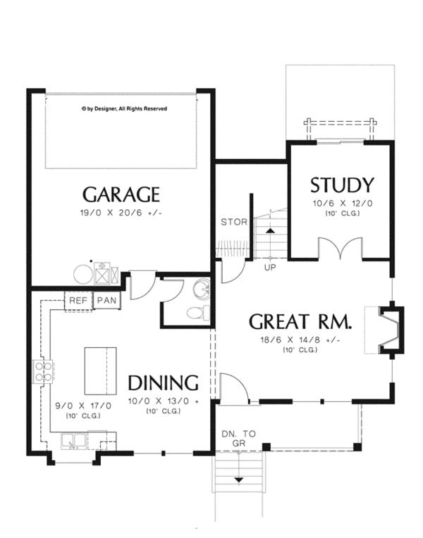 Country Floor Plan - Main Floor Plan Plan #48-908