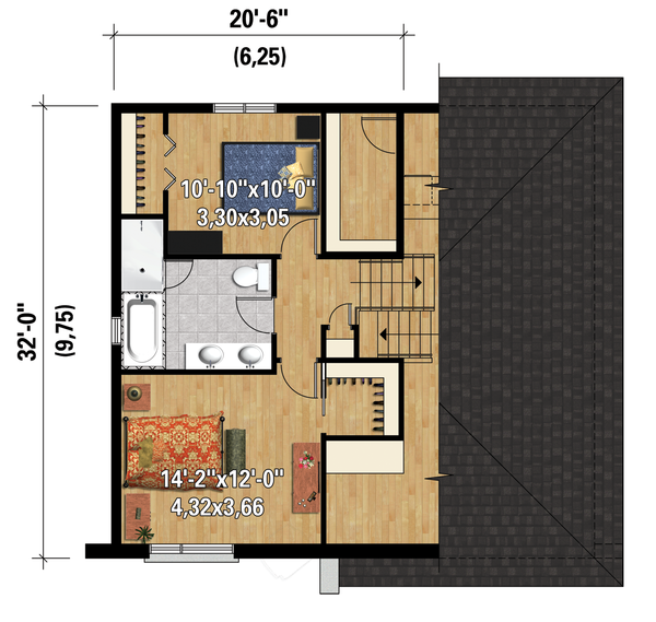 Contemporary Floor Plan - Upper Floor Plan Plan #25-4283
